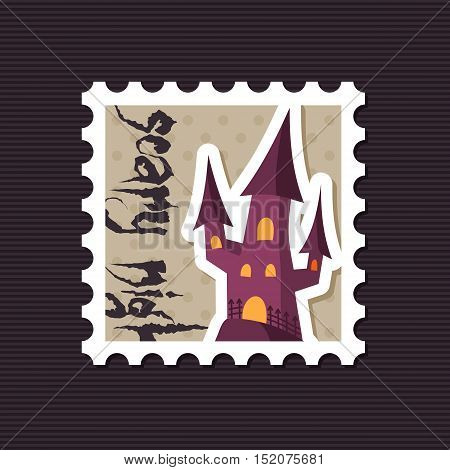 Halloween witch castle vector silhouette stamp eps 10