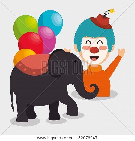 balloons, elephant and clown smiling cartoon circus character over white background. colorful design. vector illustration