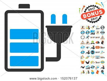 Charge Battery icon with bonus 2017 new year icon set. Vector illustration style is flat iconic symbols, blue and gray colors, white background.