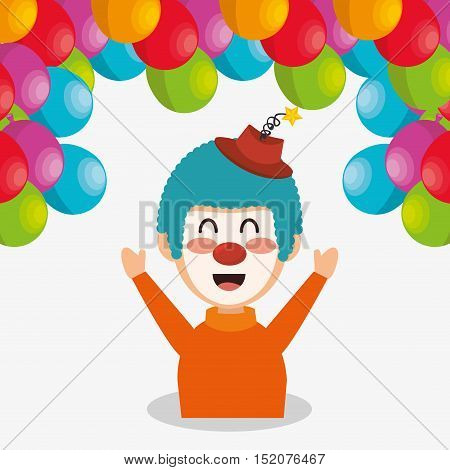 balloons and clown smiling cartoon circus character over white background. colorful design. vector illustration
