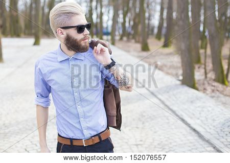 Handsome Walking In The Park