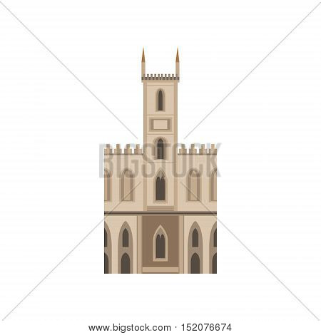 Saint Joseph Church As A National Canadian Culture Symbol. Isolated Illustration Representing Canada Famous Signature On White Background