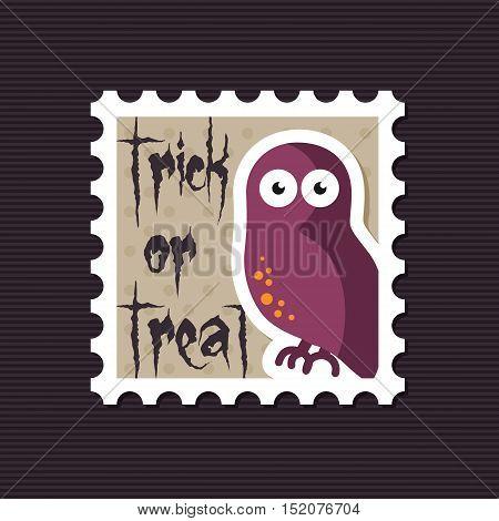 Halloween owl stamp vector illustration eps 10