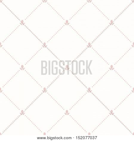 Geometric repeating ornament with diagonal dotted lines. Seamless abstract modern pattern. Light pink pattern