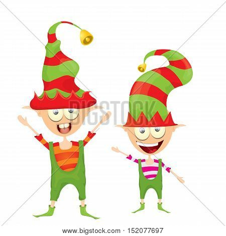 vector cartoon cute happy Christmas elf isolated on white background. merry christmas illustration
