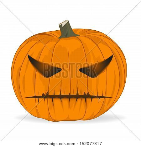 vector illustration. animated evil pumpkin. looks at you. sign icon material design