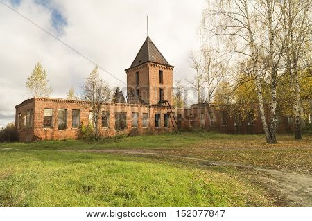 Old destroyed building from red brick in MstyoreRussia
