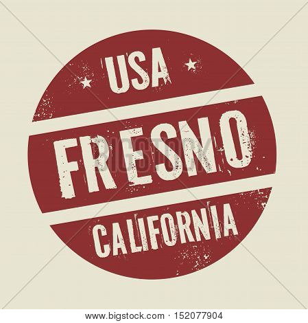 Grunge vintage round stamp with text Fresno California vector illustration