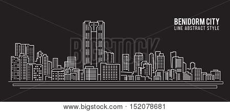Cityscape Building Line art Vector Illustration design - Benidorm city