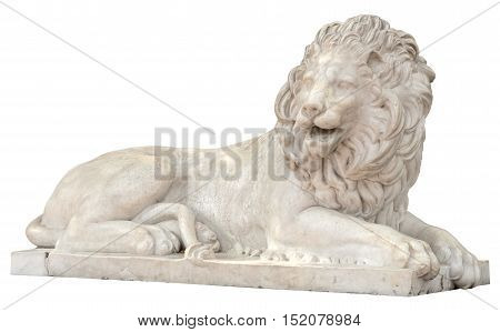 Sculpture of a lion from marble on a white background