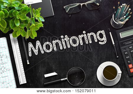 Black Chalkboard with Monitoring. 3d Render. Toned Illustration.