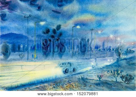 Watercolor landscape original painting colorful of evening atmosphere and emotion in blue background