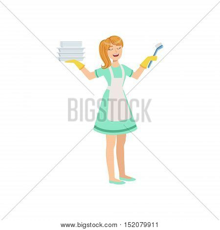 Hotel Professional Maid Washing Dishes Illustration. Cleaning Lady Tiding Up With Special Inventory Simple Flat Vector Drawing.