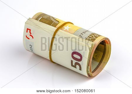 Roll Of One Fifty Euro Banknotes