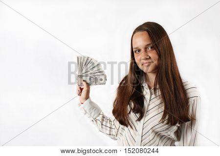 Young business woman is seeking financial success