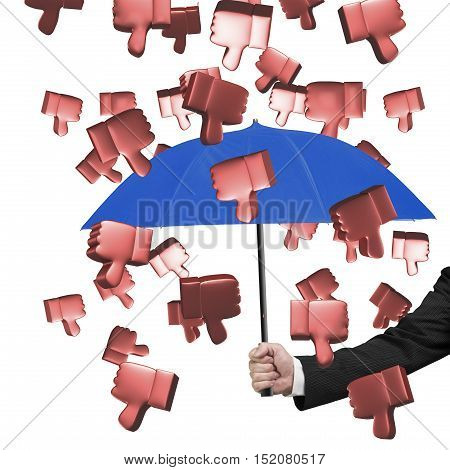 Hand Holding Umbrella To Prevent 3D Thumbs Down