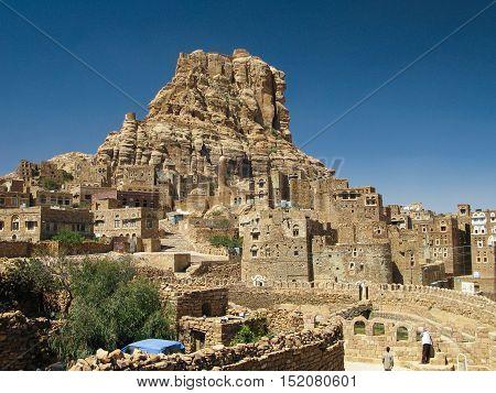 Traditional town of Thula mountain landscape Yemen