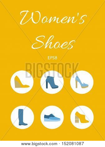 Collection of women's shoes. Set autumn and winter shoes. Promotions and sales in store