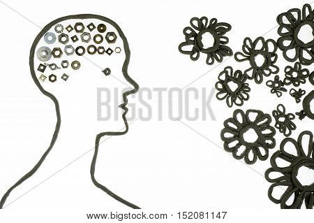 human clay silhouette with mechanical brain over white