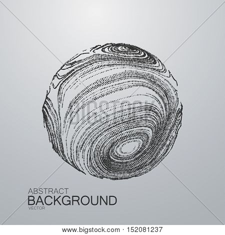 3D distorted sphere of particle lines. Futuristic vector illustration. Technology concept. Science virus or molecule model
