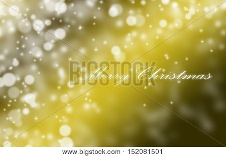 Merry Christmas Greetings Postcard With Blur Light Bokeh Yellow