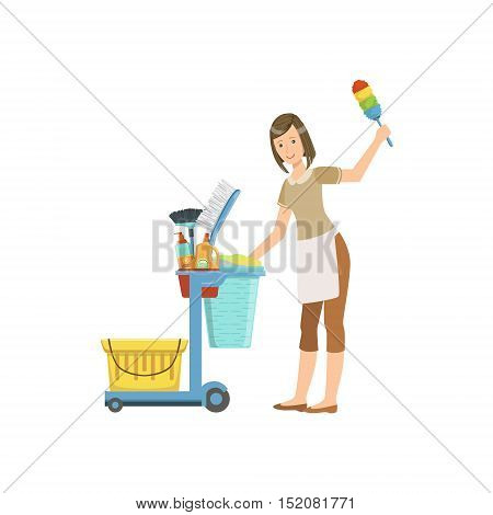 Hotel Professional Maid With Cleaning Equipment Cart Illustration. Cleaning Lady Tiding Up With Special Inventory Simple Flat Vector Drawing.
