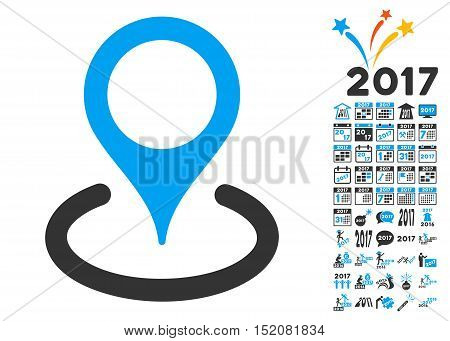 Location pictograph with bonus 2017 new year pictures. Vector illustration style is flat iconic symbols, blue and gray colors, white background.