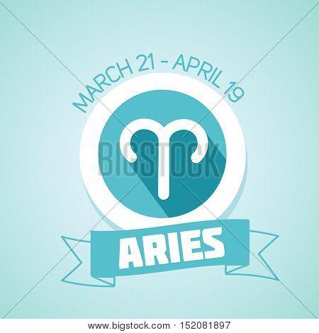 Aries zodiac sign in circular frame vector Illustration. Contour icon.