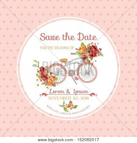 Invitation or Congratulation Card - for Wedding - Vintage Hortensia Floral Theme - in Vector