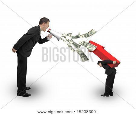 Boss Using Megaphone Spraying Out Dollar Bills Yelling At Employee