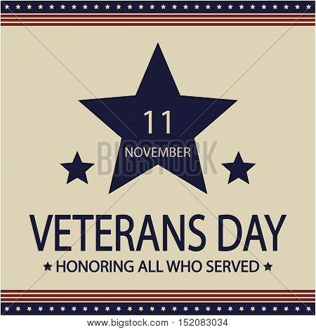 Veterans day card or background. vector illustration.