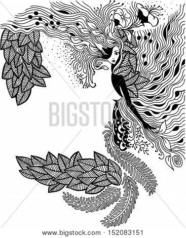 Vector illustration Zen Tangle portrait of a woman in a flower frame. Doodle forest, garden. Coloring book anti stress for adults. Black and white vector illustration