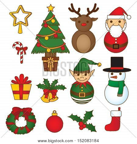 christmas decoration set, doodle collection, merry christmas vibrant series