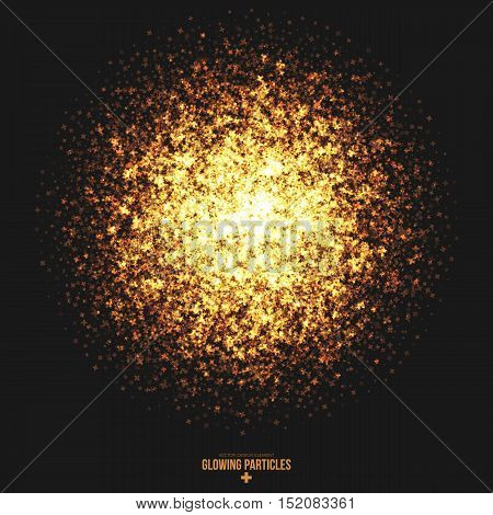 Abstract bright golden shimmer glowing cross shape particles vector background. Scatter shine tinsel light explosion effect. Burning sparks. Celebration, holidays and party illustration