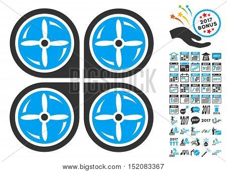 Nanocopter Screws Rotaion pictograph with bonus 2017 new year icon set. Vector illustration style is flat iconic symbols, blue and gray colors, white background.