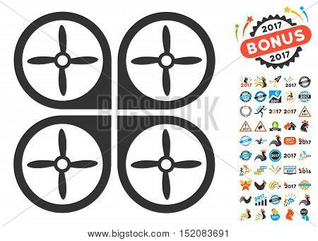 Nanocopter icon with bonus 2017 new year graphic icons. Vector illustration style is flat iconic symbols, blue and gray colors, white background.