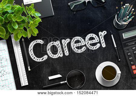 Career Concept on Black Chalkboard. 3d Rendering. Toned Image.