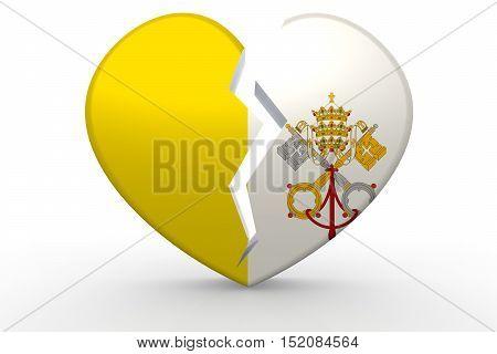 Broken White Heart Shape With Vatican City Flag