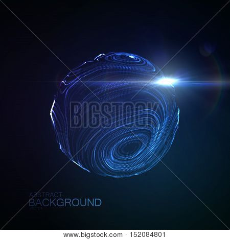 3D illuminated distorted sphere of glowing particles, wireframe and Flare lens light effect. Futuristic vector illustration. Technology concept. Science virus or molecule model
