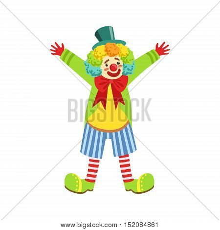 Colorful Friendly Clown With Multicolor Wig In Classic Outfit. Childish Circus Clown Character Performing In Costume And Make Up.