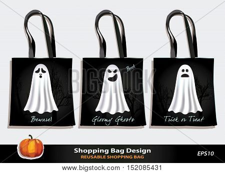 Halloween reusable shopping bag design. Vector template. Kid's bag set for Trick-or-Treat game. Spooky Ghosts with scary & funny faces against black background. Sample text. Pumpkin icon.
