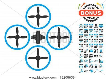 Quadcopter icon with bonus 2017 new year icon set. Vector illustration style is flat iconic symbols, blue and gray colors, white background.