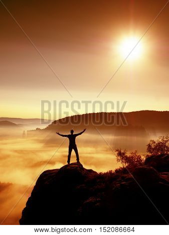Happy Man Gesture Raised Arms. Funny Hiker With Raised Hands