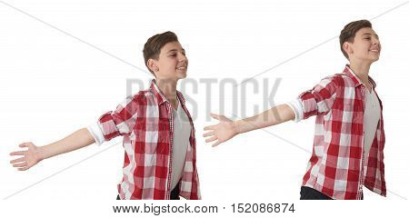Set of cute teenager boy in red checkered shirt with arms raised outstretched smiling joyful over white isolated background, half body, freedom concept
