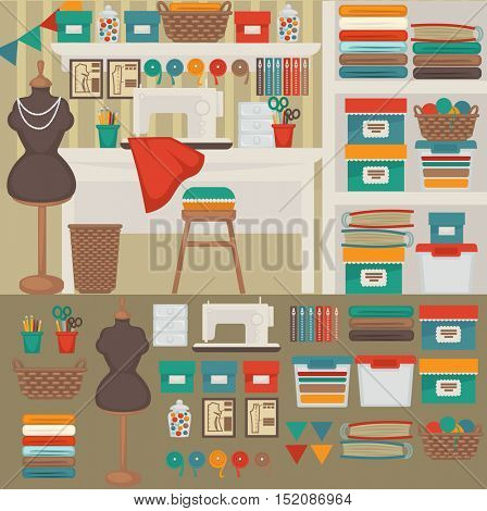 Workplace seamstress: interior and furniture for tailoring. Home workshop: table and sewing machine, mannequin and chair, needle and scissors, thread and fabric. Vector illustration for design.