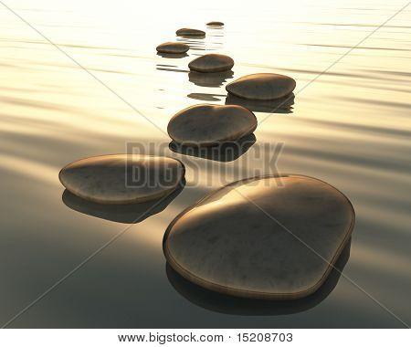 Ein Bild des goldenen Licht Schritt Steine