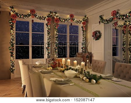 3d rendering. nordic interior with christmas decoration.