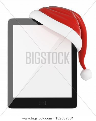 3d christmas illustration.Tablet with blank screen and Santa Claus hat. Isolated white background.