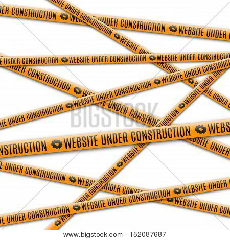 Abstract background with yellow tape for fencing and the text website under construction vector illustration.
