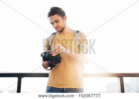 Photographer Camera DSLR Shooting Journalist Concept